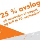 Vi gir 25% rabatt på alle typer mastruller i hele August, og helt til 10. september!