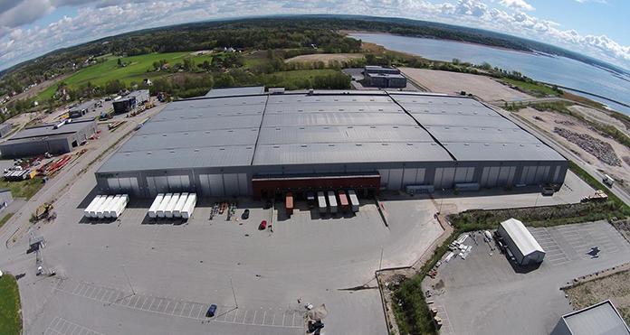 Flyfoto over Europris` lager